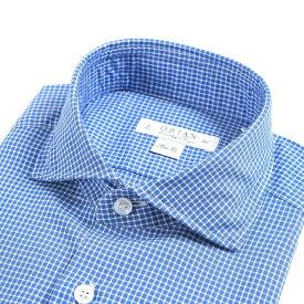 【WINTER SALE】【半額以下】オリアン ORIAN Vintage Classic シャツ ワイシャツ ホリゾンタルカラー 長袖 Slim Fit スリムフィット メンズ コットン 100% チェック ブルー 青 イタリア ブランド MADE IN ITALY ビジネス S M L XL