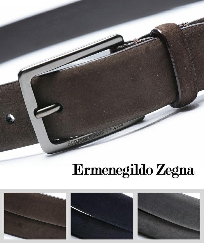 【ポイント10倍】エルメネジルドゼニア Ermenegildo Zegna/レザーベルト ピンバックル スエードメンズ|送料無料|ギフト