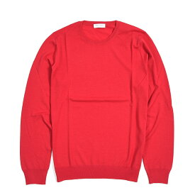 グランサッソ Gran Sasso ニット セーター クルーネック 長袖 メンズ ヴァージンウール 100% 無地 レッド 赤 イタリア ブランド L 〜 2XL