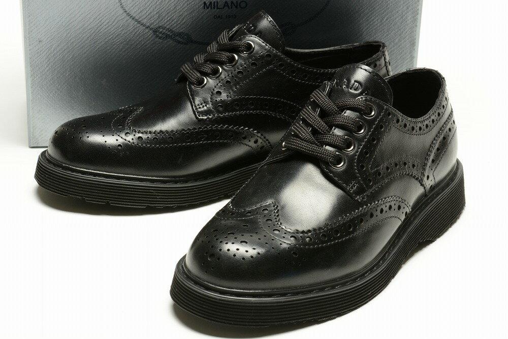 プラダ PRADA 【送料無料】ブローグシューズ/革靴/ブラック【子供靴】【キッズ】【ジュニア】【サイズEU30〜EU37(18.5cm〜23cm)】