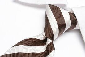 チャーチ church's 【送料無料】ネクタイ メンズ シルク 100% ブラウン ホワイト レジメンタル柄/英国製 MADE IN ENGLAND ブランド ビジネス
