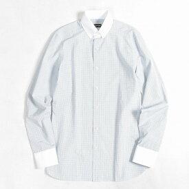 TOM FORD トムフォード 【送料無料】ドレスシャツ タブカラー クレリックシャツ メンズ スリムフィット コットン 綿 100% チェック ホワイト ブルー ブラウン 白 M L/イタリア ブランド ビジネス カジュアル