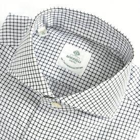 ルイジボレッリ LUIGI BORRELLI 【送料無料】NA35-ST ドレスシャツ ホリゾンタルカラー シャツ 春夏 メンズ コットン 綿 100% チェック ホワイト 白 ブラック 黒/S M L XL 2XL/イタリア ナポリ ブランド ビジネス