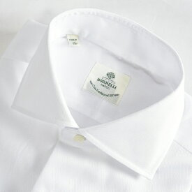ルイジボレッリ LUIGI BORRELLI 【送料無料】ACHILLE-ST ドレスシャツ ワイドカラー シャツ 春夏 メンズ コットン 綿 100% 無地 織 ホワイト 白/S M L XL 2XL/イタリア ナポリ ブランド ビジネス
