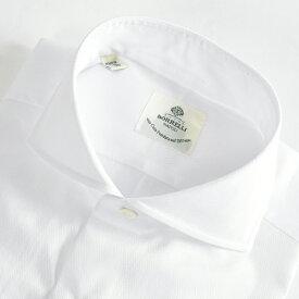ルイジボレッリ LUIGI BORRELLI 【送料無料】NA35-ST ドレスシャツ ホリゾンタルカラー シャツ 春夏 メンズ コットン 綿 100% 無地 織 ホワイト 白/S M L XL 2XL/イタリア ナポリ ブランド ビジネス