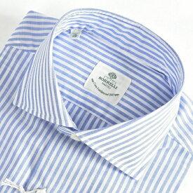 ルイジボレッリ LUIGI BORRELLI 【送料無料】FABIO-ST ドレスシャツ ワイドカラー シャツ 春夏 メンズ コットン 綿 100% ストライプ ホワイト 白 ブルー 水色/S M L XL/イタリア ナポリ ブランド ビジネス