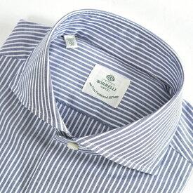 ルイジボレッリ LUIGI BORRELLI 【送料無料】NA35-ST ドレスシャツ ホリゾンタルカラー シャツ 春夏 メンズ コットン 綿 100% ストライプ ホワイト 白 ブルー 水色/M L/イタリア ナポリ ブランド ビジネス