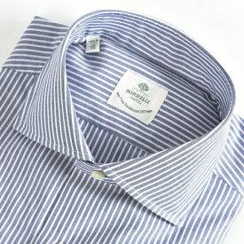 ルイジボレッリ LUIGI BORRELLI 【送料無料】FABIO-ST ドレスシャツ ワイドカラー シャツ 春夏 メンズ コットン 綿 100% ストライプ ホワイト 白 ブルー 水色/M L XL 2XL/イタリア ナポリ ブランド ビジネス
