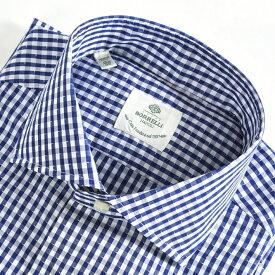 ルイジボレッリ LUIGI BORRELLI 【送料無料】FABIO-ST ドレスシャツ ワイドカラー シャツ 春夏 メンズ コットン 綿 100% チェック ホワイト 白 ブルー 青/M L XL 3XL/イタリア ナポリ ブランド ビジネス