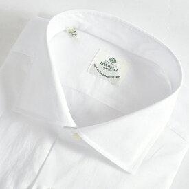 ルイジボレッリ LUIGI BORRELLI 【送料無料】FABIO-ST ドレスシャツ ワイドカラー シャツ 春夏 メンズ コットン 綿 100% 無地 織 ドット ホワイト 白/S M L XL 2XL/イタリア ナポリ ブランド ビジネス