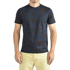 オリアン ORIAN 【送料無料】Tシャツ クルーネック SLIM FIT 半袖 メンズ スリム コットン 綿 100% 総柄 花柄 ネイビー 紺 ボルドー 赤/S M L XL/イタリア ブランド カジュアル