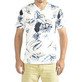 オリアン ORIAN 【送料無料】Tシャツ Vネック SLIM FIT 半袖 メンズ スリム コットン 綿100% ジャージー アロハ柄 ホワイト 白 ネイビー 紺/S M L XL 2XL/イタリア ブランド カジュアル