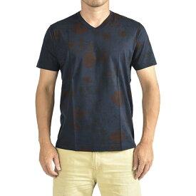 オリアン ORIAN 【送料無料】Tシャツ Vネック SLIM FIT 半袖 メンズ スリム コットン 綿100% ジャージー 花柄 ネイビー 紺 ブラウン 茶/M XL 2XL/イタリア ブランド カジュアル