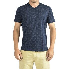 オリアン ORIAN 【送料無料】Tシャツ Vネック SLIM FIT 半袖 メンズ スリム コットン 綿100% ジャージー ペイズリー ネイビー 紺/S M L XL 2XL/イタリア ブランド カジュアル