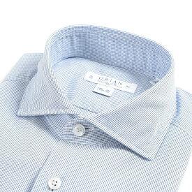 【WINTER SALE】【半額以下】オリアン ORIAN Vintage Classic シャツ ワイシャツ ホリゾンタルカラー 長袖 Slim Fit メンズ コットン 100% ブロック チェック ブルー 青 イタリア ブランド MADE IN ITALY ビジネス S M L XL