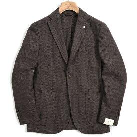 【期間限定】【半額以下】エルビーエム 1911 L.B.M. 1911 テーラード ジャケット 2Bシングル ノッチドラペル メンズ 秋冬 ウール バーズアイ ブラウン イタリア ブランド サイズ S L XL 2XL 大きいサイズ
