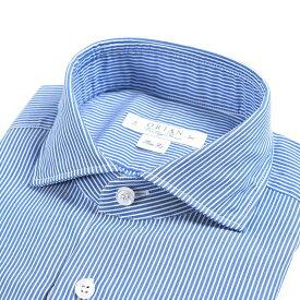 【WINTER SALE】【半額以下】オリアン ORIAN Vintage Classic シャツ ワイシャツ ホリゾンタルカラー 長袖 Slim Fit メンズ コットン 100% ストライプ ブルー 青 イタリア ブランド MADE IN ITALY ビジネス XS S M L XL 2XL 3XL