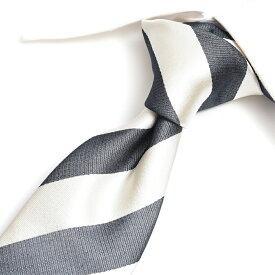 【ポイント10倍】エルメネジルドゼニア Ermenegildo Zegna ネクタイ メンズ シルク 100% レジメンタル ホワイト 白 グレー イタリア ブランド MADE IN ITALY ビジネス ギフト