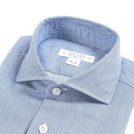 【WINTER SALE】【半額以下】オリアン ORIAN Vintage Classic シャツ ワイシャツ ホリゾンタルカラー 長袖 Slim Fit スリムフィット メンズ コットン 100% ストライプ ブルー 青 イタリア ブランド MADE IN ITALY ビジネス S M L