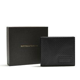 ボッテガヴェネタ BOTTEGA VENETA フォールディング ウォレット 二つ折り 財布 メンズ レディース パンチング レザー ブラック イタリア ブランド MADE IN ITALY