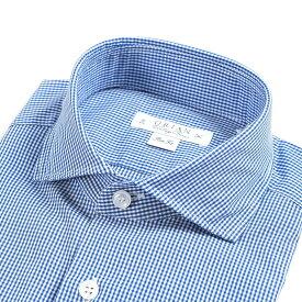 【WINTER SALE】【半額以下】オリアン ORIAN Vintage Classic シャツ ワイシャツ ホリゾンタルカラー 長袖 Slim Fit メンズ コットン 100% ギンガム チェック ブルー 青 イタリア ブランド MADE IN ITALY ビジネス S M L XL 2XL