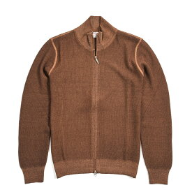 グランサッソ Gran Sasso Vintage ニット カーディガン スタンドカラー 製品染め 長袖 メンズ コットン 100% 無地 ブラウン S M L XL 2XL