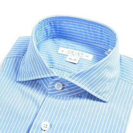 【WINTER SALE】【半額以下】オリアン ORIAN Vintage Classic シャツ ワイシャツ ホリゾンタルカラー 長袖 Slim Fit スリムフィット メンズ コットン 100% ストライプ ブルー 青 イタリア ブランド MADE IN ITALY ビジネス M L