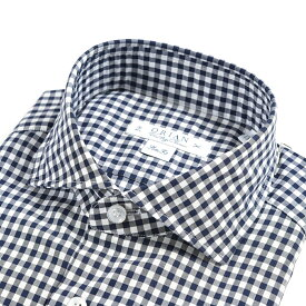【WINTER SALE】【半額以下】オリアン ORIAN Vintage Classic シャツ ワイシャツ ホリゾンタルカラー 長袖 Slim Fit メンズ コットン 100% ギンガム チェック ネイビー 紺 イタリア ブランド MADE IN ITALY ビジネス S M L XL