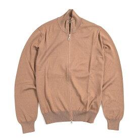 グランサッソ Gran Sasso ジップアップ ニット カーディガン スタンドカラー 長袖 メンズ コットン 100% 無地 ブラウン S M