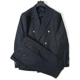 ボリオリ BOGLIOLI テーラード スーツ 6Bダブル 春夏 メンズ コットン シルク ダーク ネイビー サイズ L