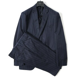 ボリオリ BOGLIOLI テーラード スーツ 2Bシングル 春夏 メンズ コットン シルク ストライプ ネイビー サイズ L