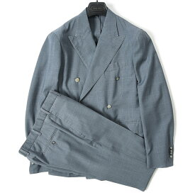 ボリオリ BOGLIOLI テーラード スーツ 6Bダブル 春夏 メンズ ウール 100% ブルー グレー サイズ M