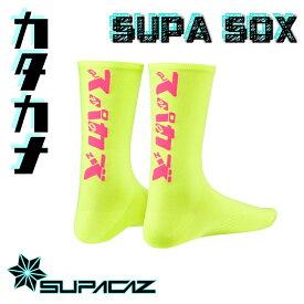【ネオンイエロー/ネオンピンク】カタカナロゴ SPACAZ スーパーソックス 靴下 片仮名 SUPACAZ[S-STAGE]
