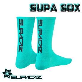 【チェレステ/ブラック】スーパーソックス 英語ロゴモデル 靴下 SUPACAZ[S-STAGE]