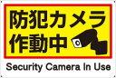 プレート看板 看板 (防犯カメラ作動中 Security Camera In Use) 45cm×30cm 450mmx300mm 【表面ラミネート加工 角R 4隅穴空けつき…