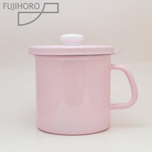 富士ホーローオイルポット1.5L ピンク(活性炭カートリッジ付)[油こし器][天ぷら油ろ過器][ホーローオイルポット]