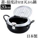 天ぷら鍋 IH対応 ガス火対応 温度計付き鉄製 蓋付き天ぷら鍋 20cm【日本製】