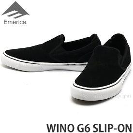 エメリカ ワイノ スリップオン 【emerica WINO G6 SLIP-ON】 スニーカー シューズ 靴 メンズ スリッポン スケートボード スケボー スケシュー ウィーノ SKATEBOARD カラー:BLACK/WHITE/GOLD