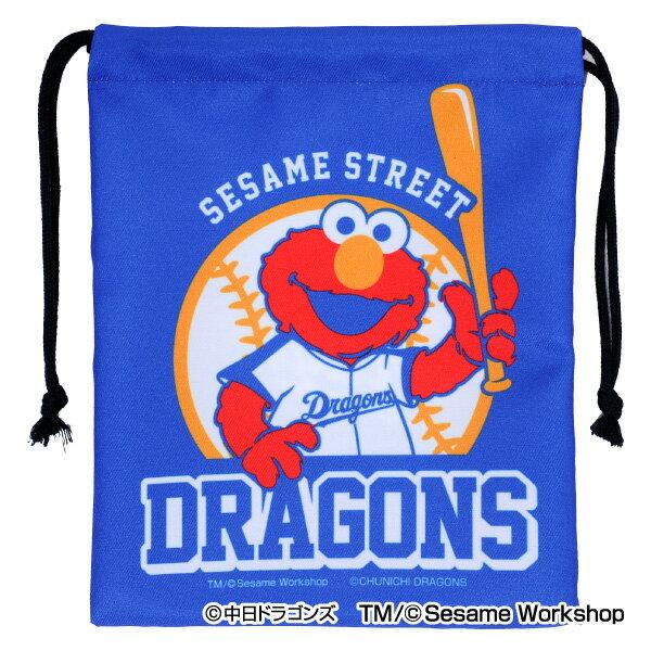 中日ドラゴンズ公認グッズSESAME STREET×ドラゴンズ 巾着 中日/ドラゴンズ/Dragons/セサミストリート/エルモ/かわいい
