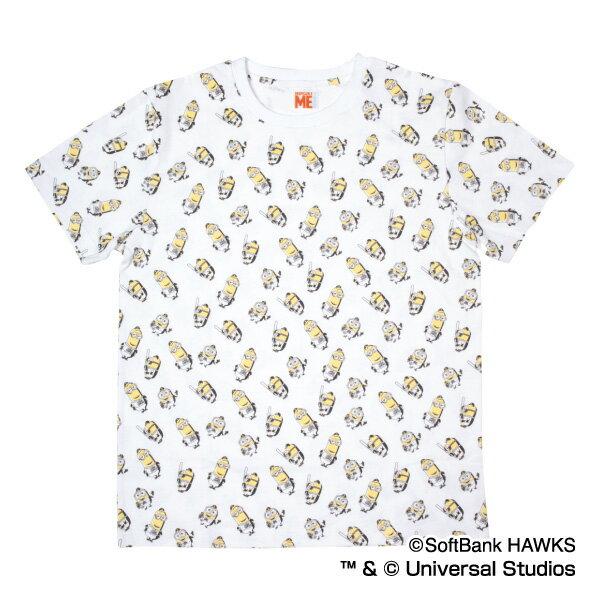 福岡ソフトバンクホークス公認グッズミニオン×ホークス 総柄Tシャツ(大人用)/ソフトバンク/ホークス/HAWKS/MINIONS/かわいい