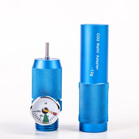 Broptical メタル製 12g CO2 ボトル グレネードカートリッジ 用 Co2ガスリフィルチャージャー PSI 圧力計 ブルー