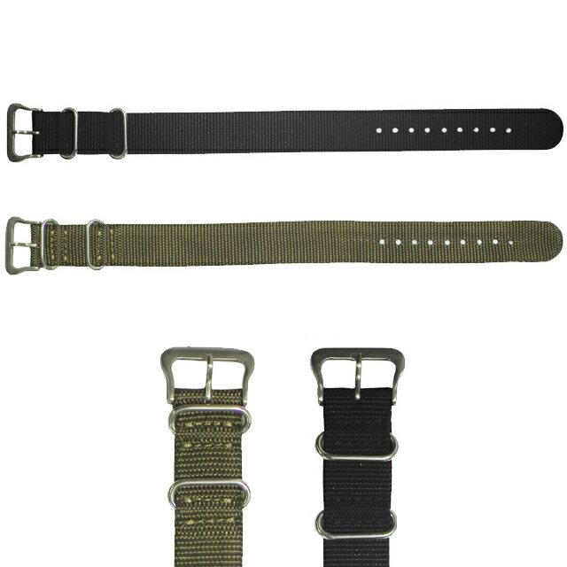 [腕時計ベルト 腕時計バンド][クレファー]CREPHA 腕時計用 替えベルト 18mm ナイロン 素材 黒 カーキ 時計バンド 工具 バネ棒付アウトドアタイプ[メール便 日時指定代引不可]