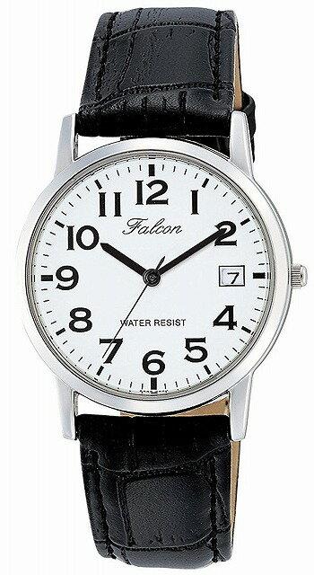 Q&Q 腕時計 キューアンドキュー Falcon ファルコン アナログ 革ベルト 日付 表示 ホワイト D018-304 メンズ [4966006066722-D018-304] [メール便 日時指定代引不可]