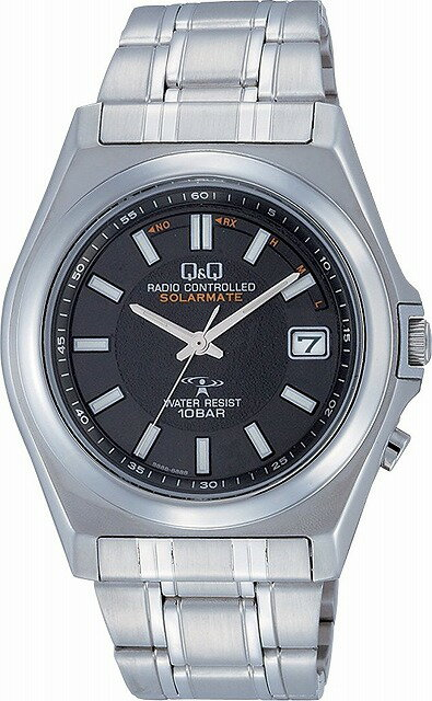 Q&Q 腕時計 キューアンドキュー 電波ソーラー ソーラーメイト アナログ 10気圧防水 ブラック HG08-202 メンズ 腕時計 [4966006058864-HG08-202]