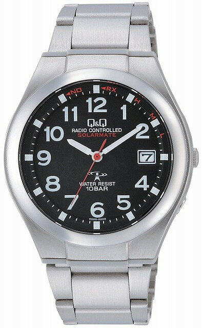 Q&Q 腕時計 キューアンドキュー 電波ソーラー腕時計 SOLARMATE アナログ表示 10気圧防水 ブラック HG12-205 メンズ [4966006064827-HG12-205]