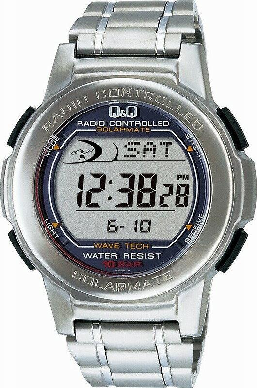 Q&Q 腕時計 キューアンドキュー SOLARMATE (ソーラーメイト) 電波ソーラー デジタル表示 クロノグラフ 10気圧防水 シルバー MHS5-200 メンズ[チープ チプシチ]