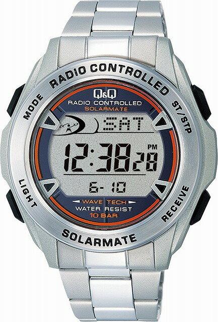 Q&Q 腕時計 キューアンドキュー 腕時計 SOLARMATE (ソーラーメイト) 電波ソーラー デジタル表示 クロノグラフ 10気圧防水 シルバー MHS7-200 メンズ [4966006061154-MHS7-200]