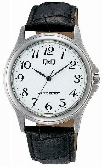 Q&Q 腕時計 キューアンドキュー ステンレスモデル アナログ 革ベルト 10気圧防水 ホワイト W378-304 メンズ [4966006067309-W378-304] [メール便 日時指定代引不可]