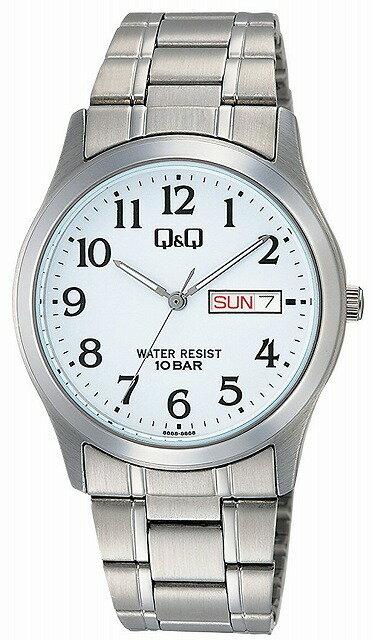 Q&Q 腕時計 キューアンドキュー 腕時計 ステンレスモデル アナログ ブレスレット 10気圧防水 ホワイト W472-204 メンズ [4966006067248-W472-204] [メール便 日時指定代引不可]