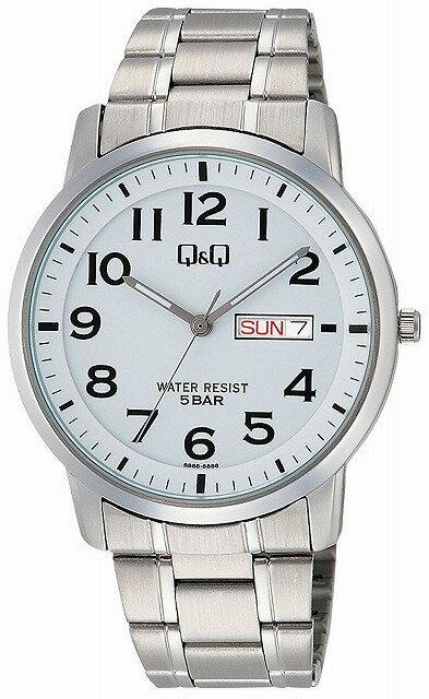 Q&Q 腕時計 キューアンドキュー 腕時計 ステンレスモデル アナログ ブレスレット 10気圧防水 ホワイト W474-204 メンズ [4966006067569-W474-204] [メール便 日時指定代引不可]